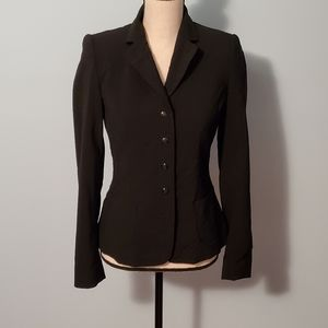 Elie Tahari Classic Black Engraved Button Blazer